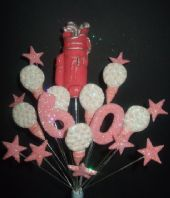 Golfer 60th birthday cake topper decoration in pink and white - free postage